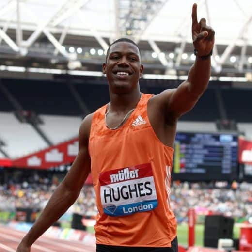 100 metre sprinter Zharnel Hughes