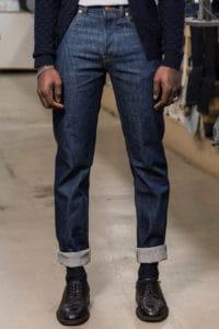 Blue short length denim jeans
