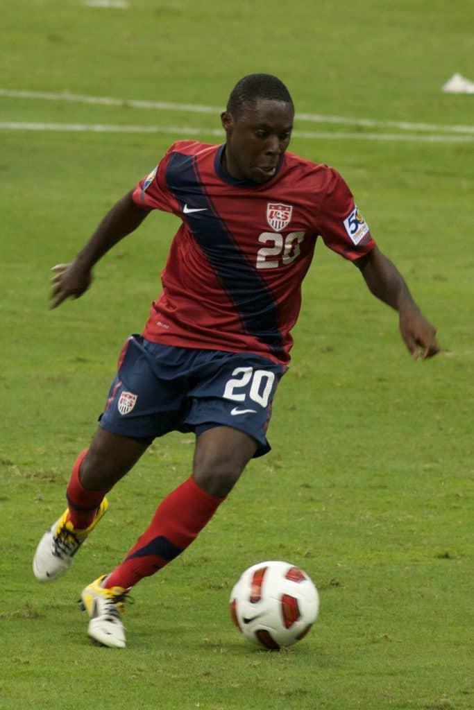 Footballer Freddy Adu playing for the USA