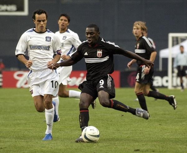 Footballer Freddy Adu making his debut