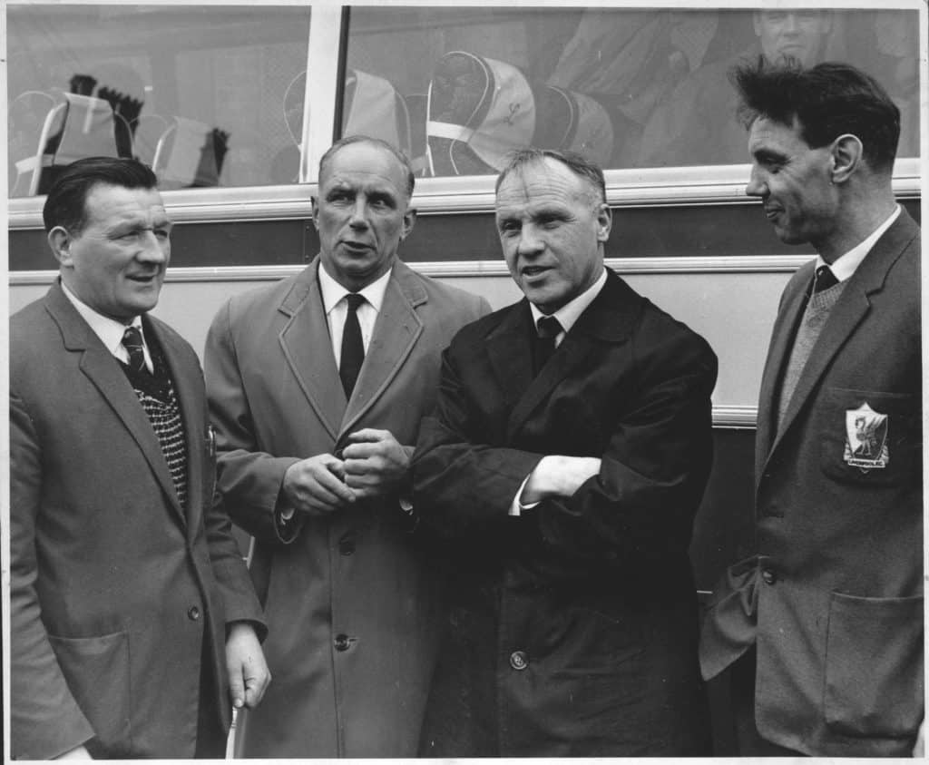 Bill Shankly chats with the boot room boys Bob Paisley, Reuben Bennett and Joe Fagan