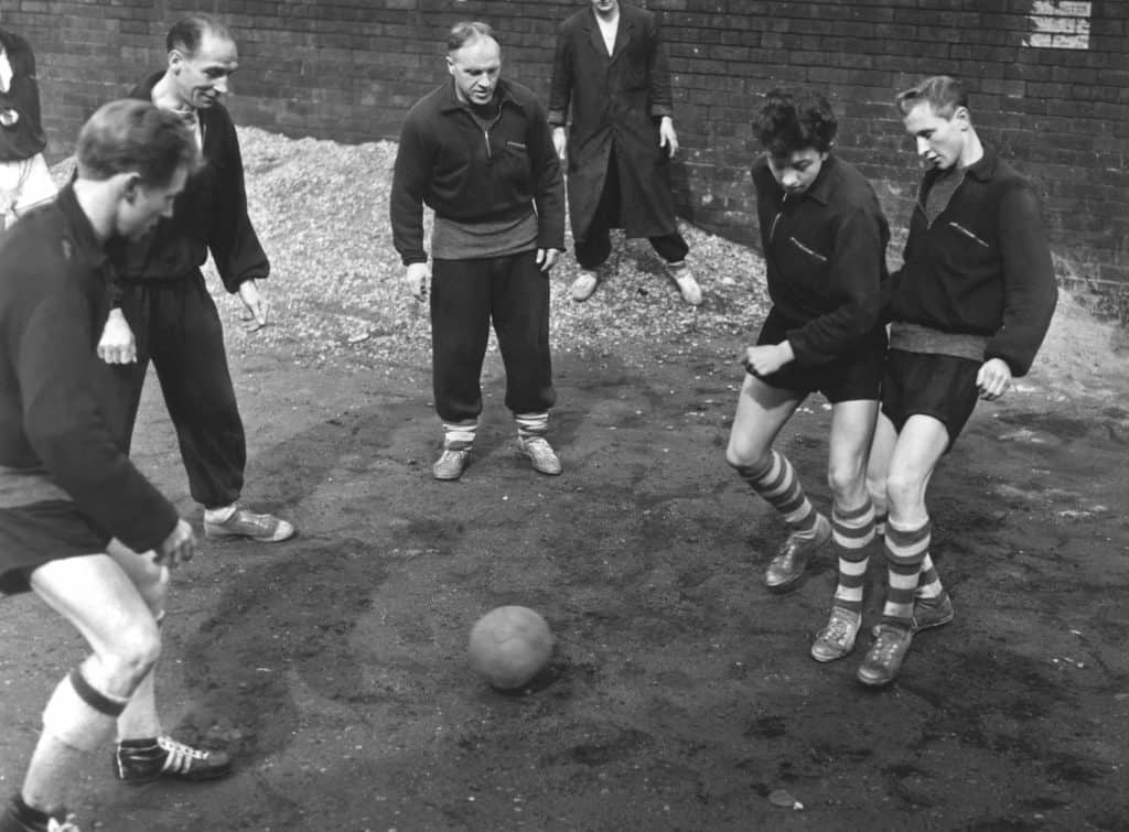 Bill Shankly coaching young Huddersfield players