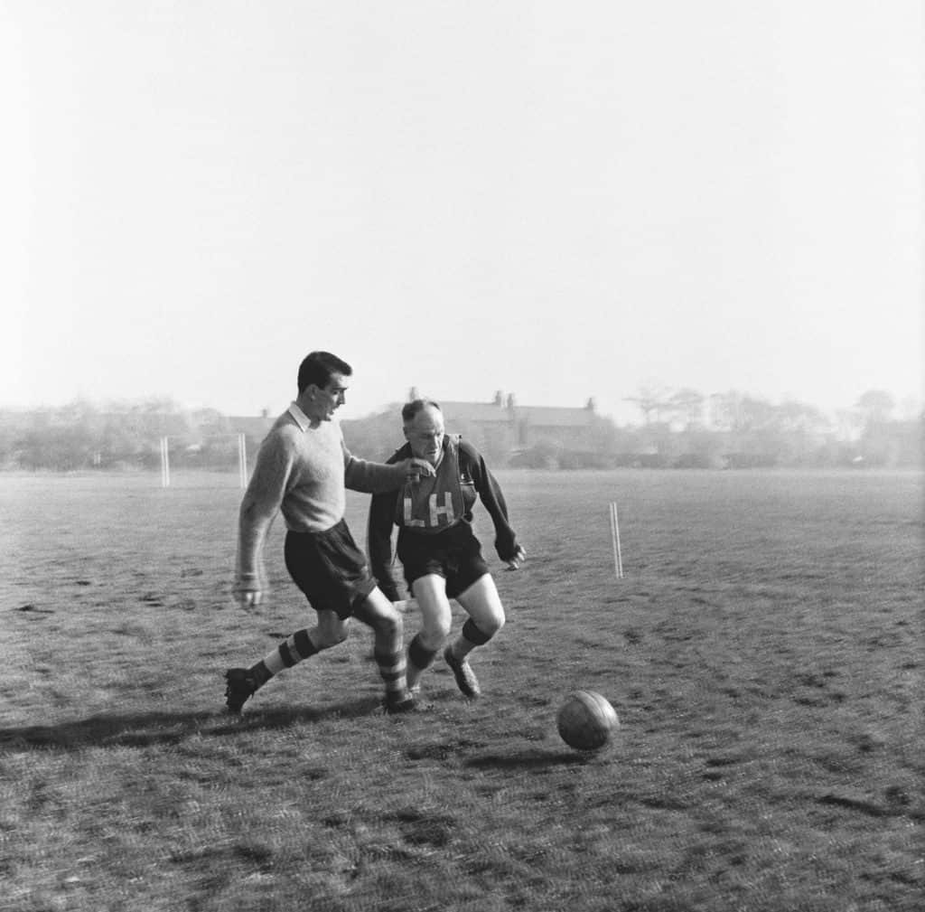 Bill Shankly joys in with training at Melwood
