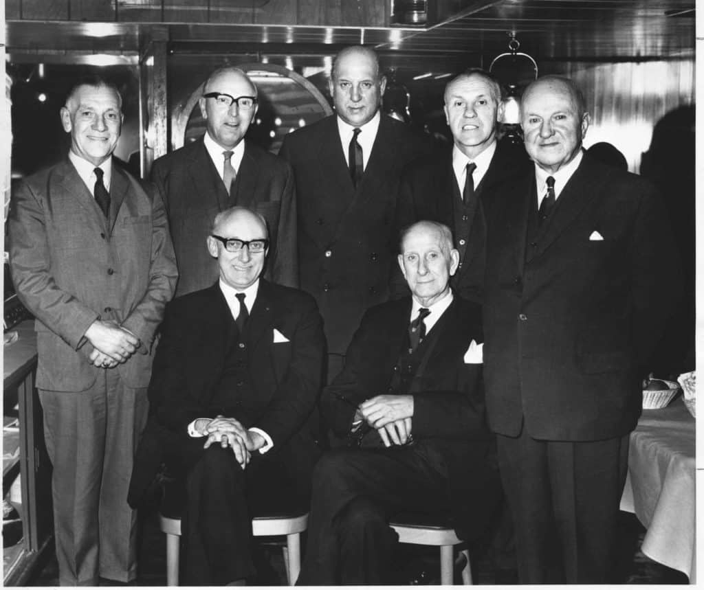 Bill Shankly and the Liverpool board in suits