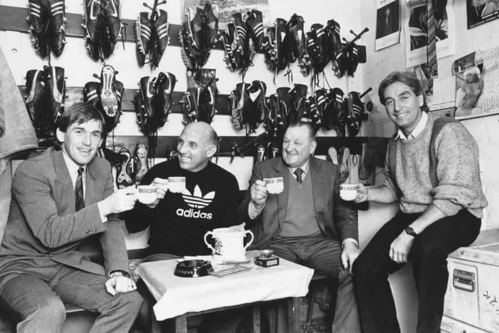 Kenny Dalglish having a cup of tea in the boot room with Ronnie Moran, Roy Evans and Bob Paisley