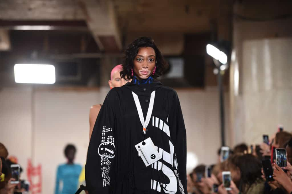 A model on the catwalk in the House of Holland SS19 collection
