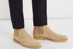 Cream suede Chelsea boots