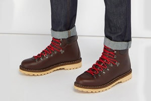 Brown DIEMME hiking boots with red laces