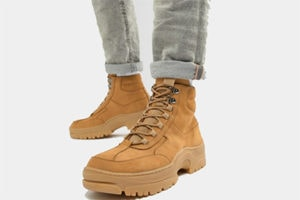 Tan Nubuck trainer boots with a chunky sole