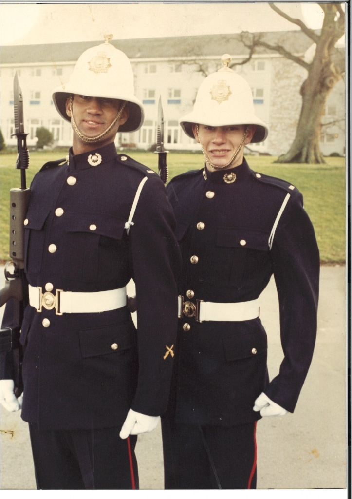 Ollie Ollerton (right) at his pass out parade in 1990 before deploying to 45 Commando in Scotland