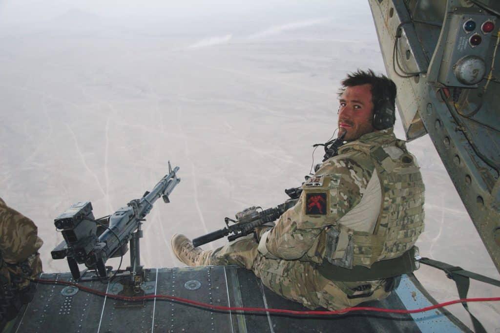 Jason Fox in back of Chinook