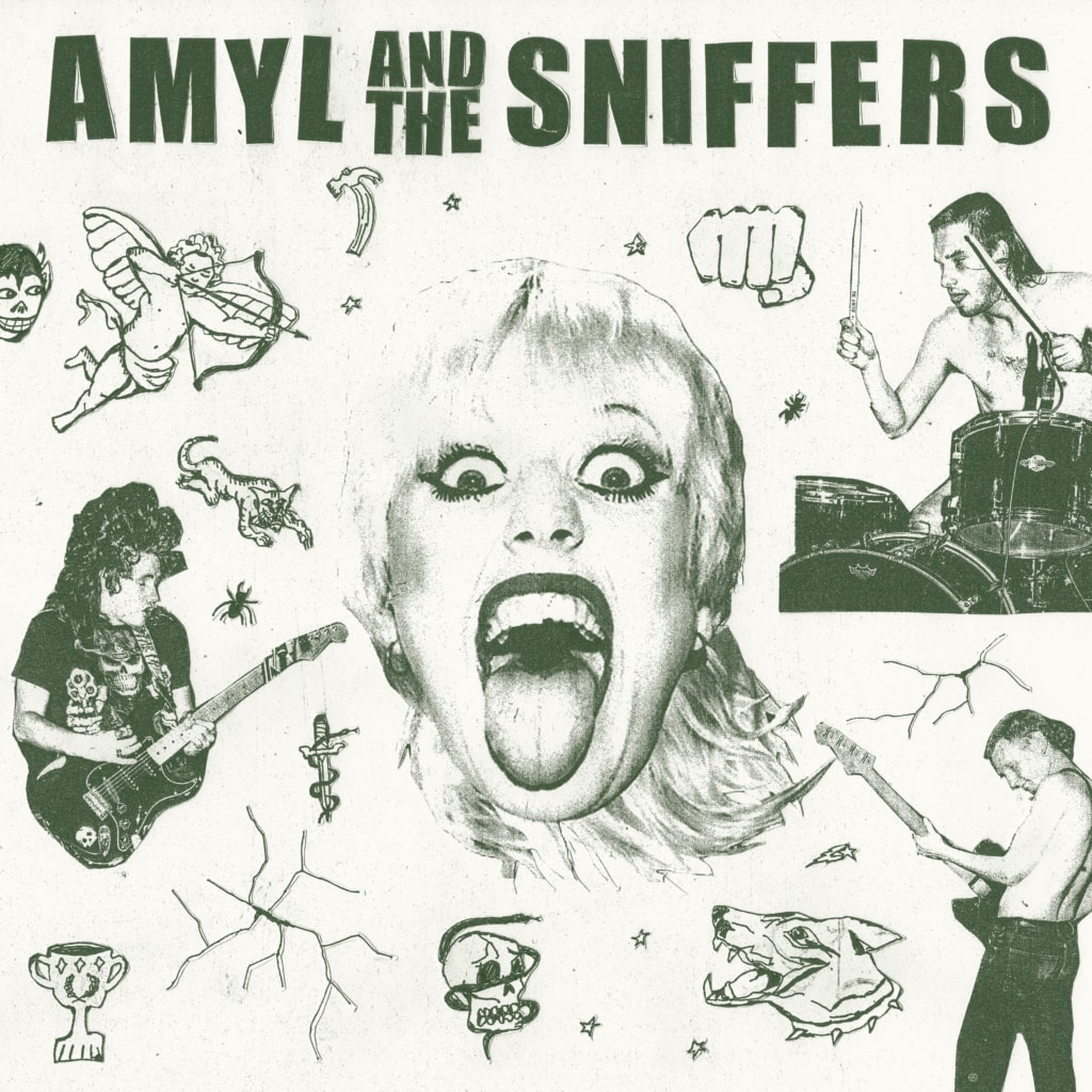 Cover of Amyl and the Sniffers self-titled debut album, with lead singer Amy pictured in the middle with her tongue out