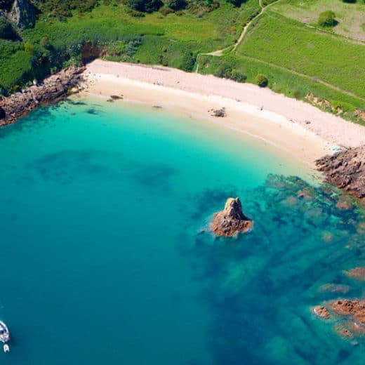 Arial view of Beauport Bay in Jersey
