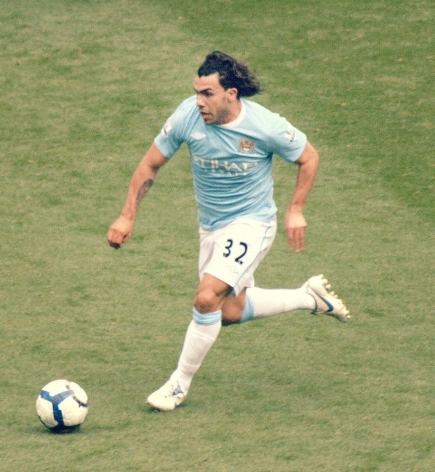 Carlos Tévez playing for Man city