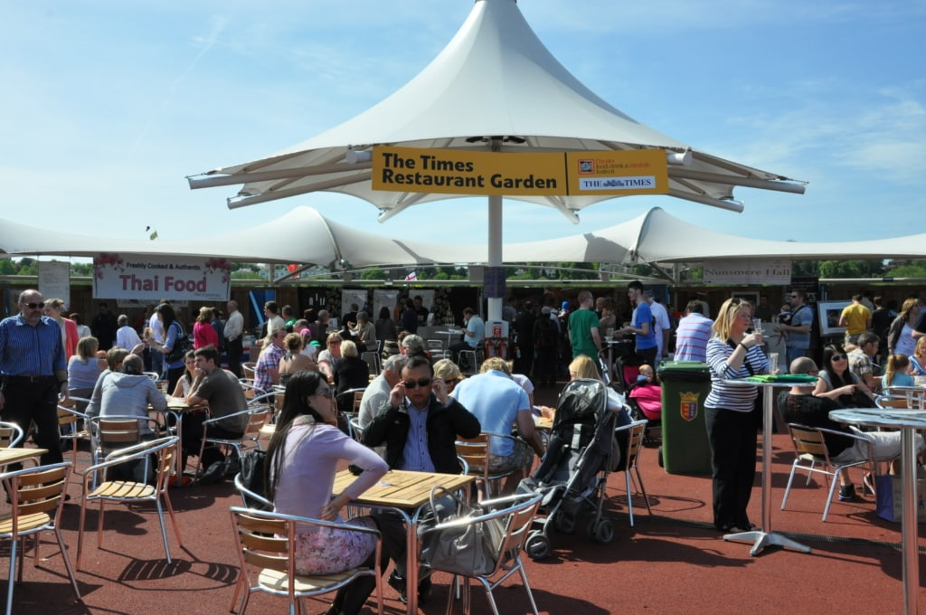 Eating area of the Chester Food and Drink Festival