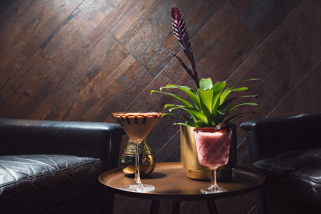 A cocktail sat inside the chocolate cocktail club in Brick Lane