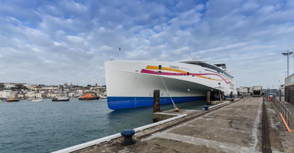 Ferry Condor Liberation first official visit to Guernsey and Jersey.