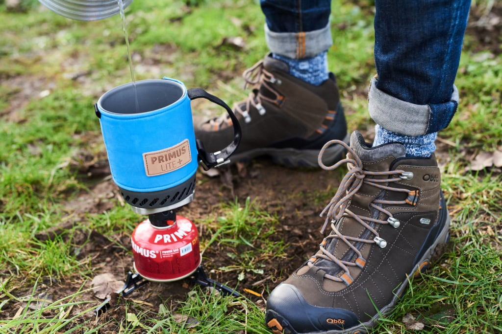 Oboz Bridger Mid Waterproof Hiking Boots and the Primus Lite+ All-in-One Stove