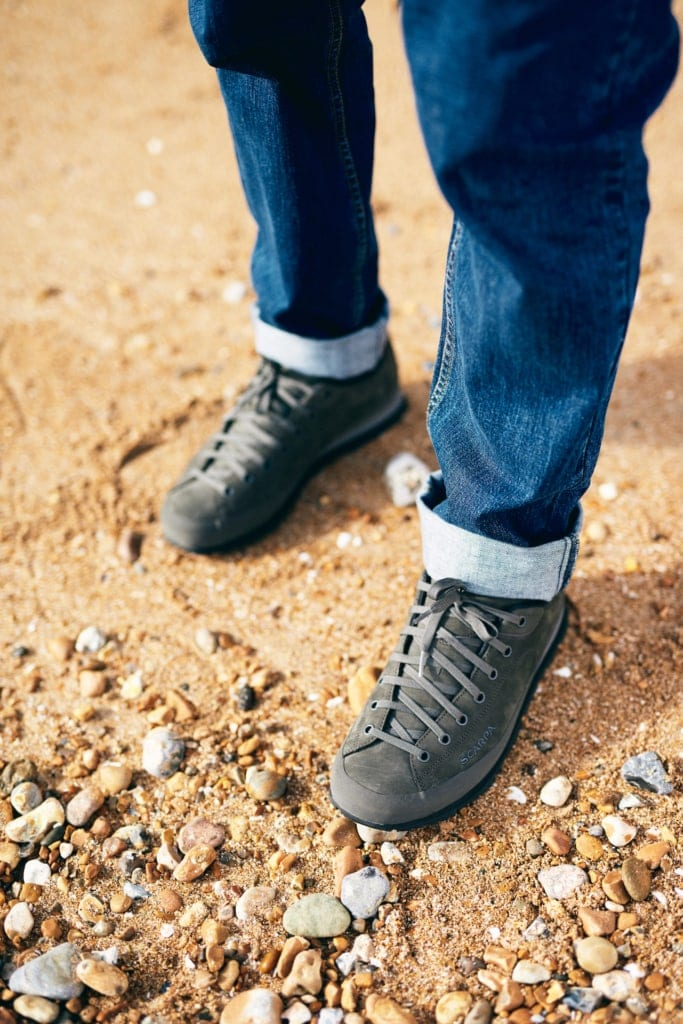 Finisterre Petram Organic Slim Fit Jeans and Scarpa Margarita GTX