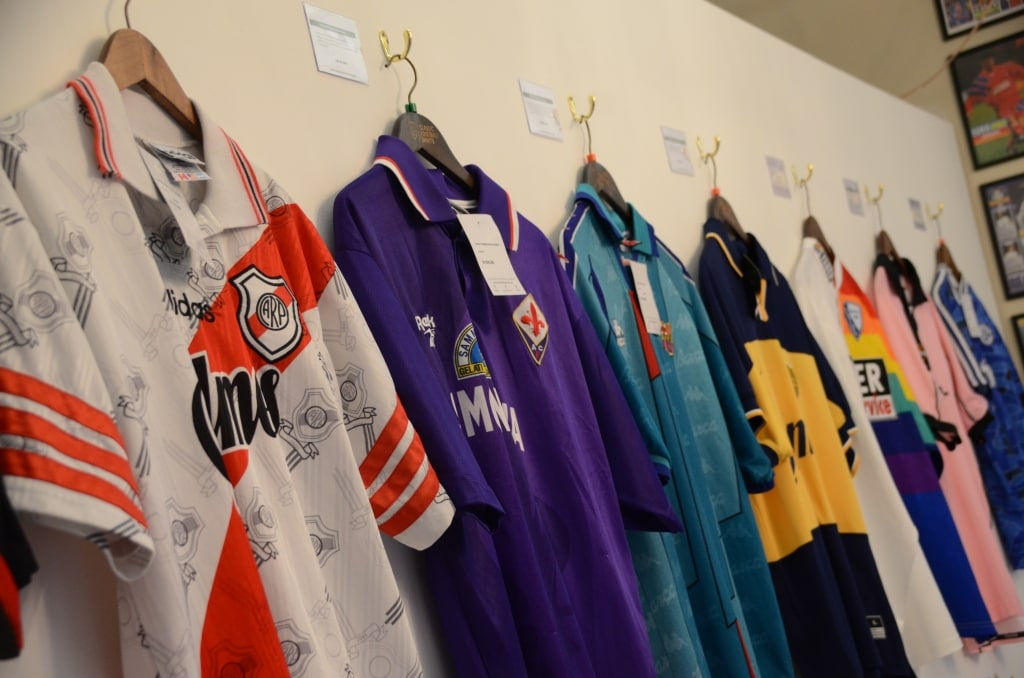 Shirts from the Classic Football Shirt Pop-up shop in Albert Dock