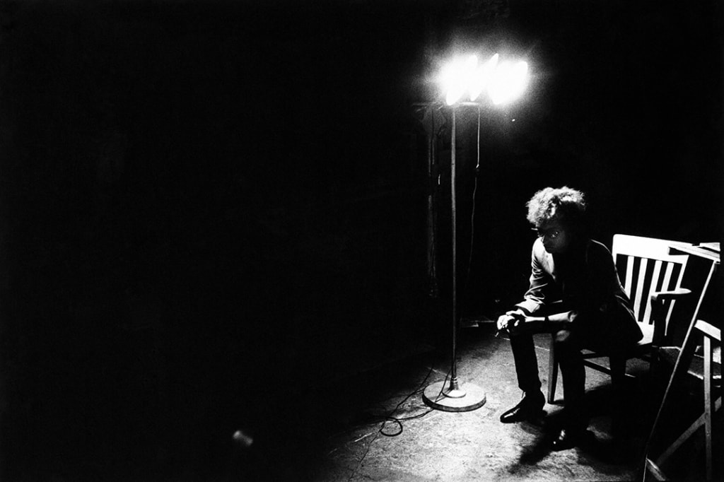 Bob Dylan screen test, The Factory, from In and Out of Warhol's Orbit: Photographs by Nat Finkelstein