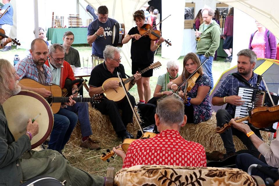Musicians playing at FolkEast festival