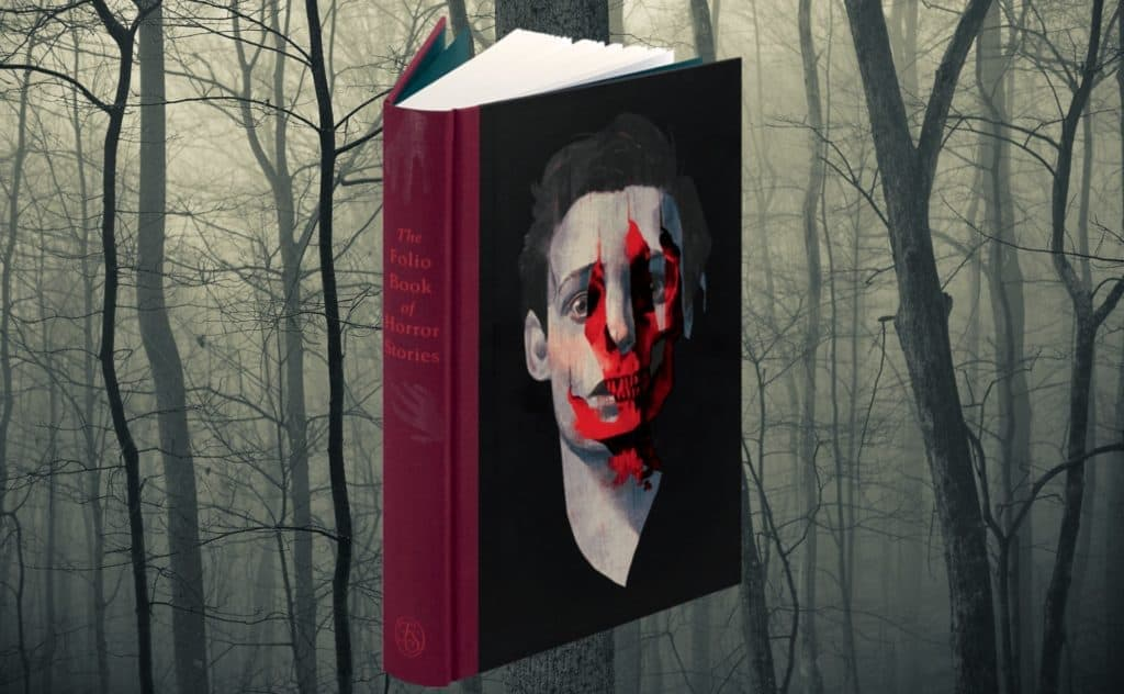 The Folio Book of Horror Stories in front of a spooky wood backdrop