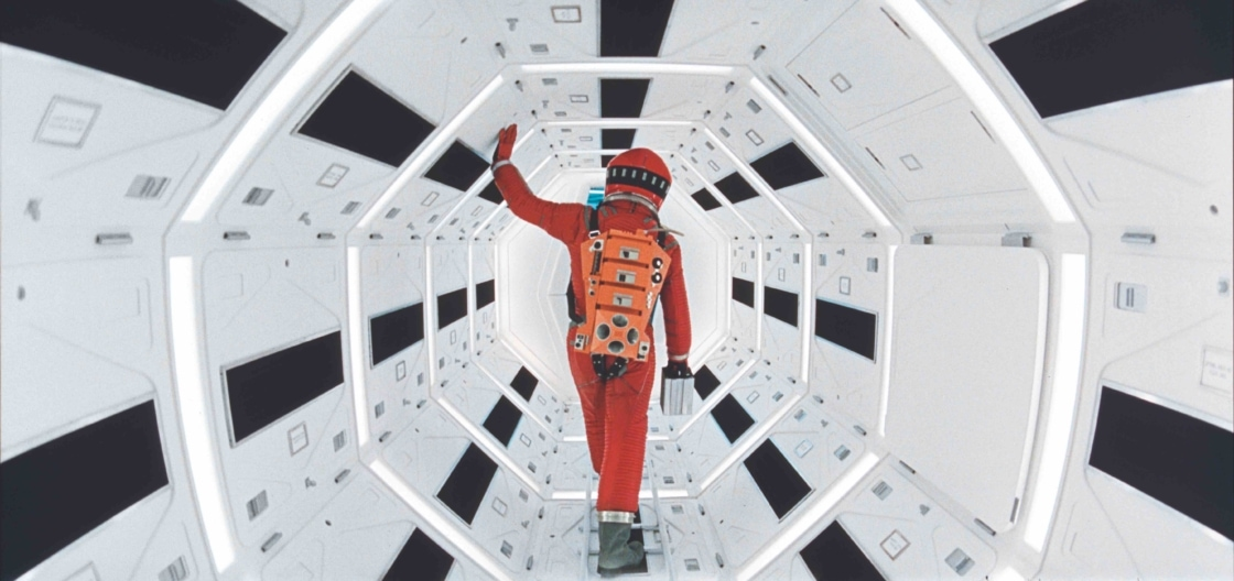 Spaceman walks down corridor in 2001: A Space Odyssey
