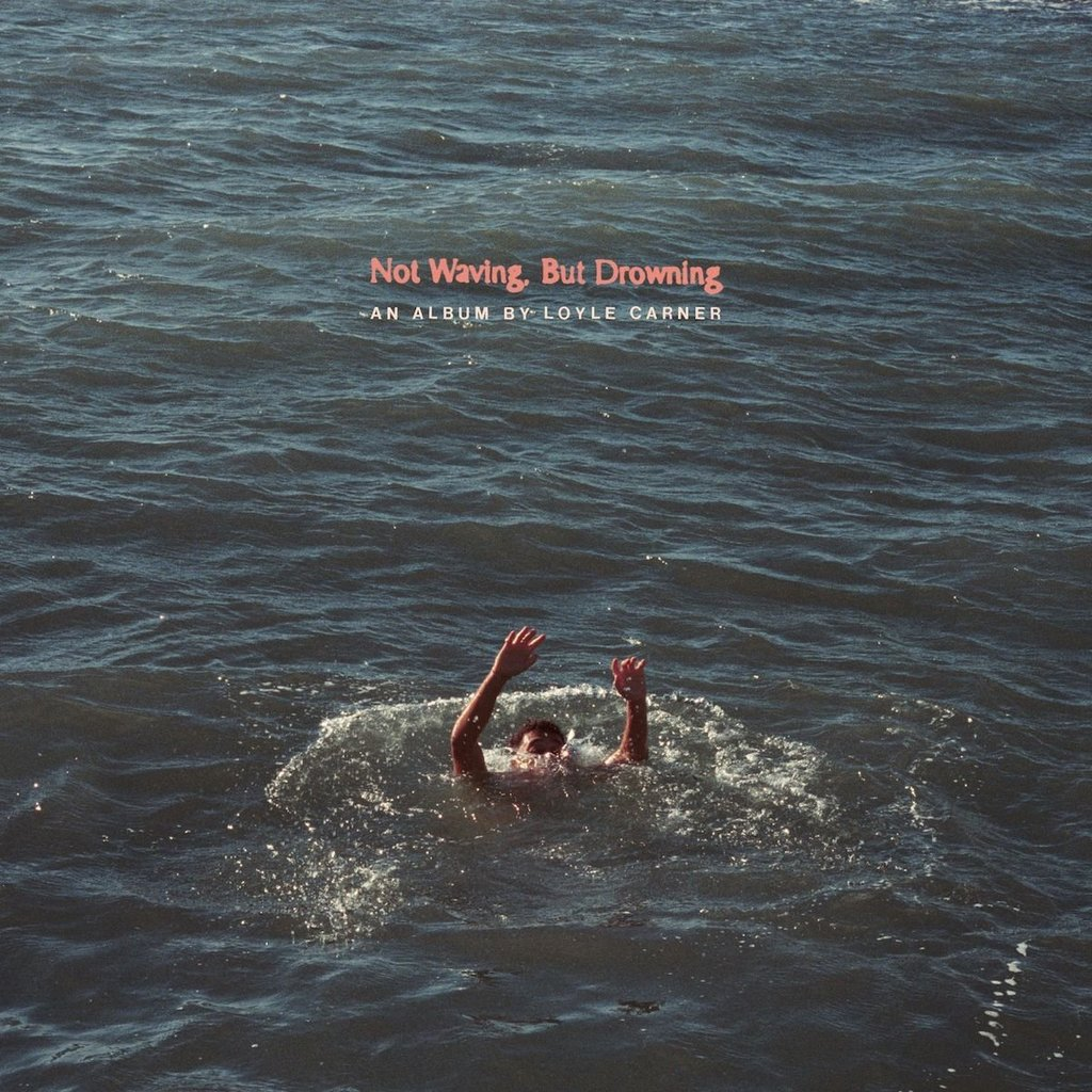 Loyle Carner not waving but drowning album cover - with Loyle Carner in water