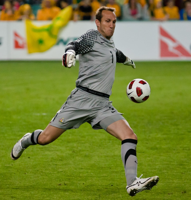 Mark Schwarzer playing for Australia