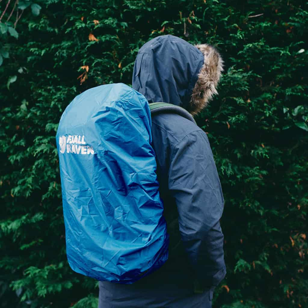 Kaipak Backpack from Fjällräven with blue cover over