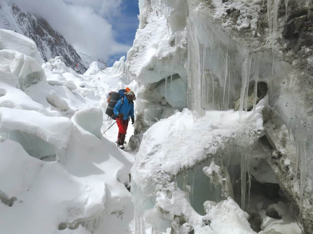 From 'One Man's Climb' - Crossing the glacier below ABC