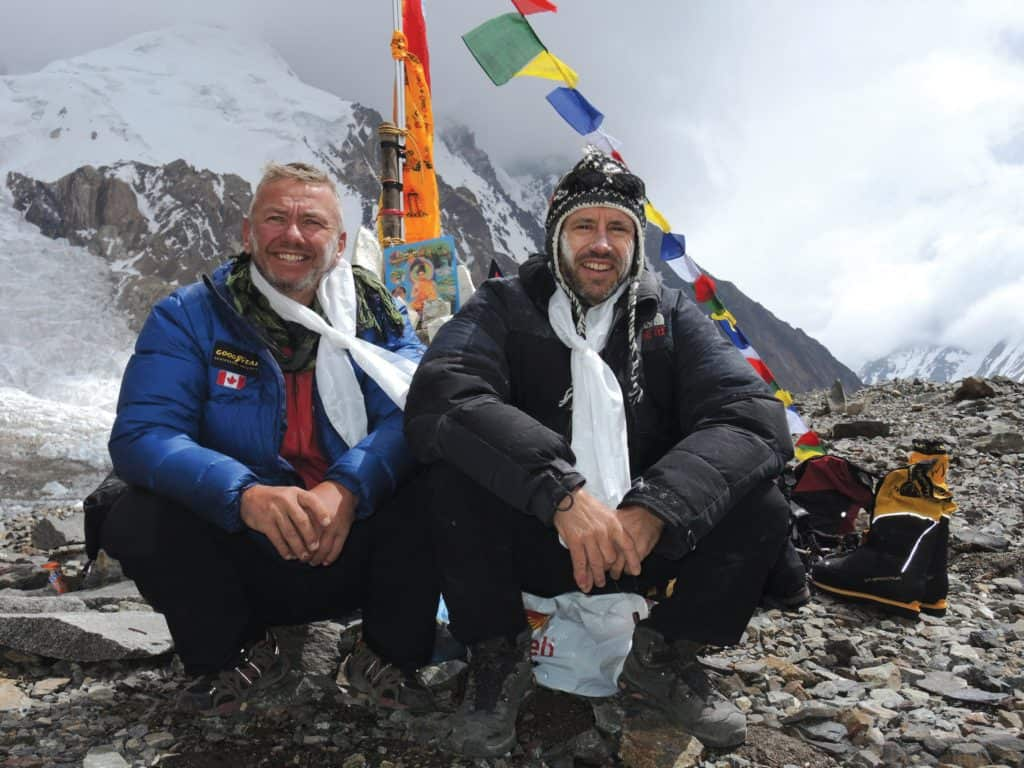 Al Hancock and Adrian Hayes at Base Camp after the Puja.
