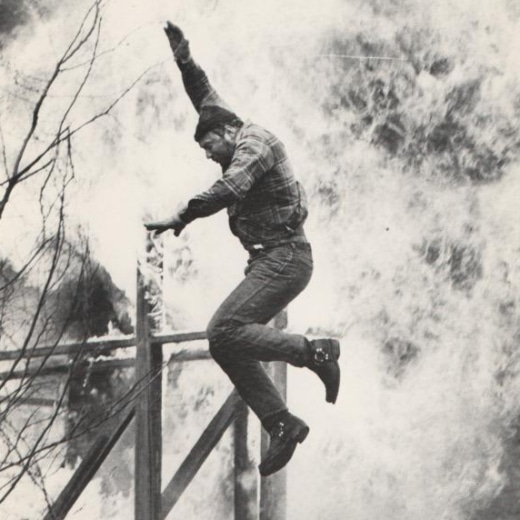 Rocky Taylor jumping off a burning building for film Death Wish 3