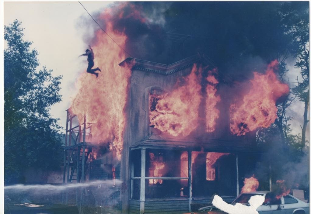 Rocky Taylor seen jumping from a burning building in the 1985 film Death Wish 3.
