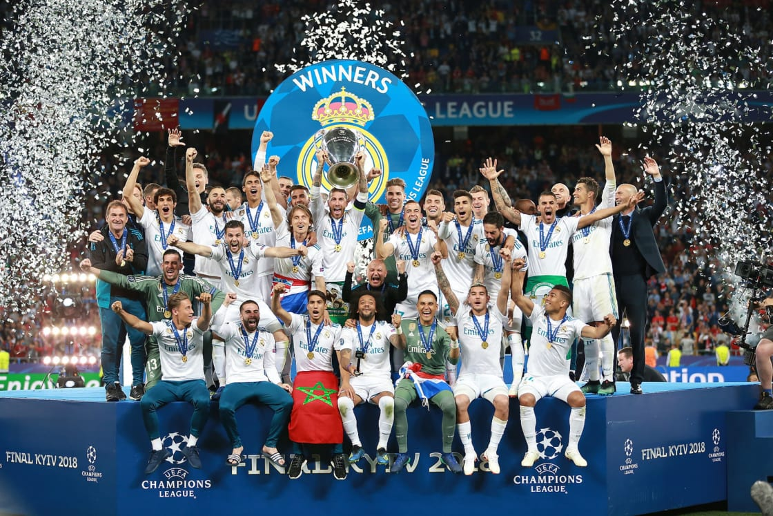 Real Madrid celebrating winning the Champions League in 2018