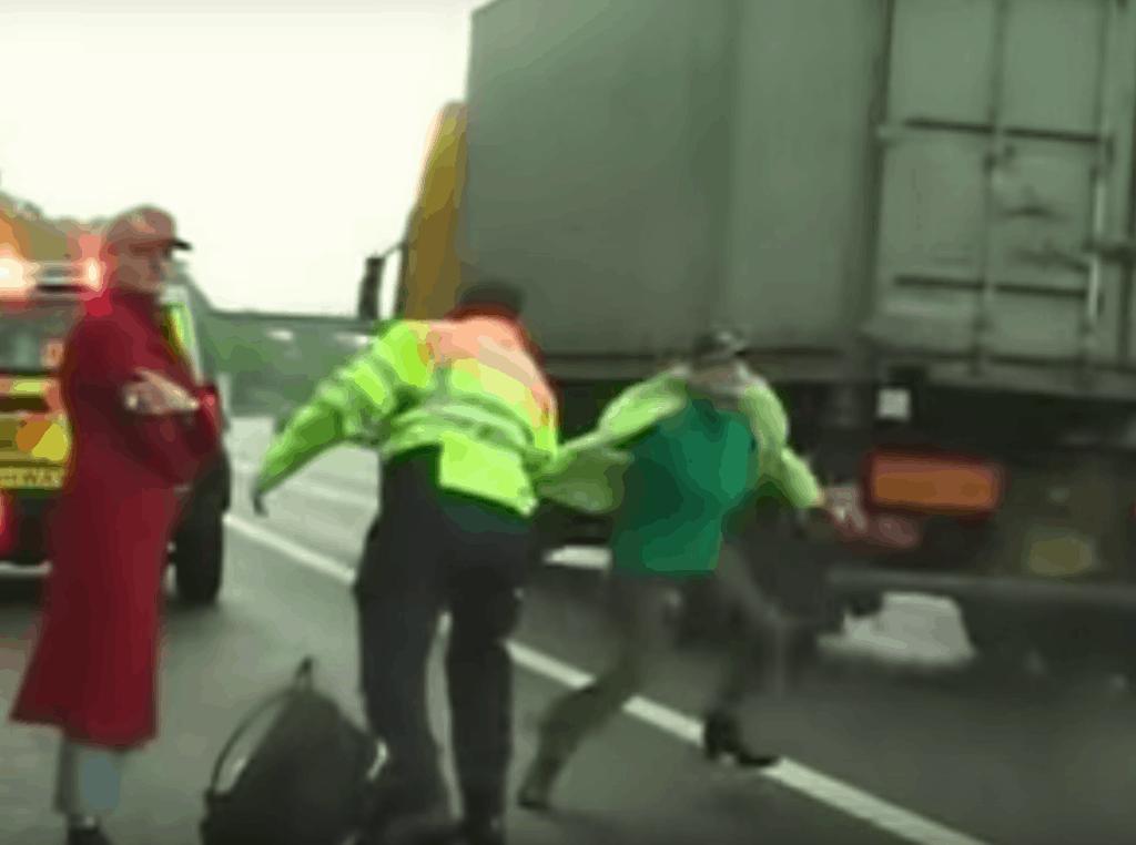 Ursula Eriksson running into motorway traffic