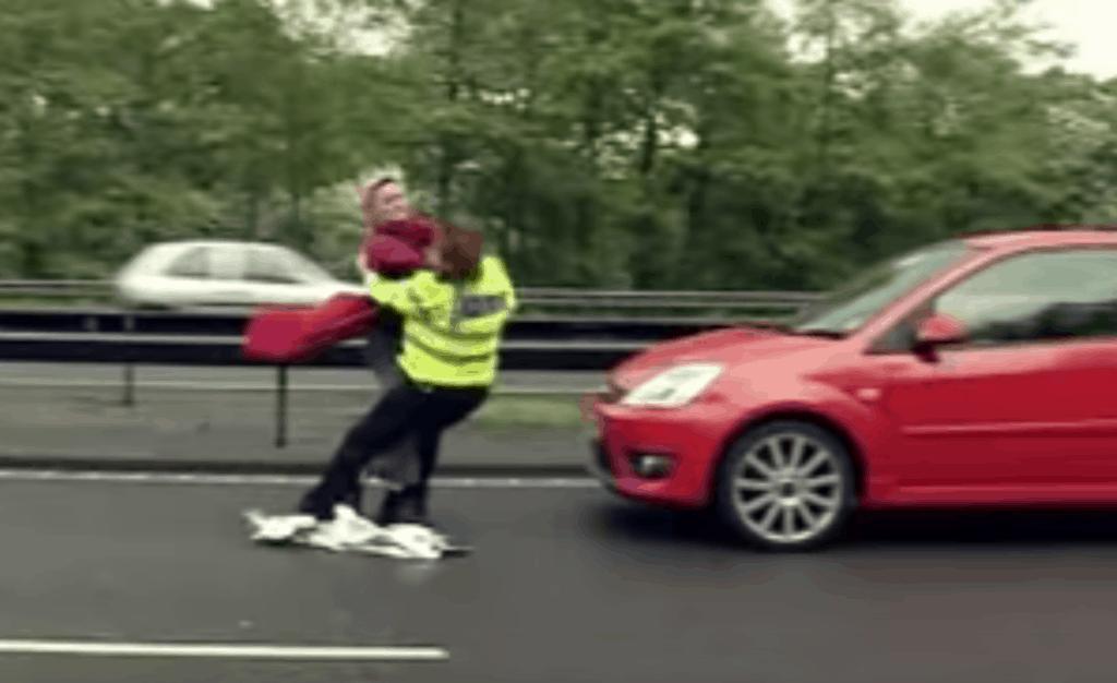 Sabina Eriksson punching a policewoman on the motorway