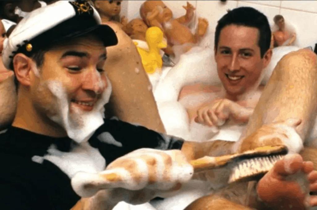 Adam Buxton and Joe Cornish sharing a bath together