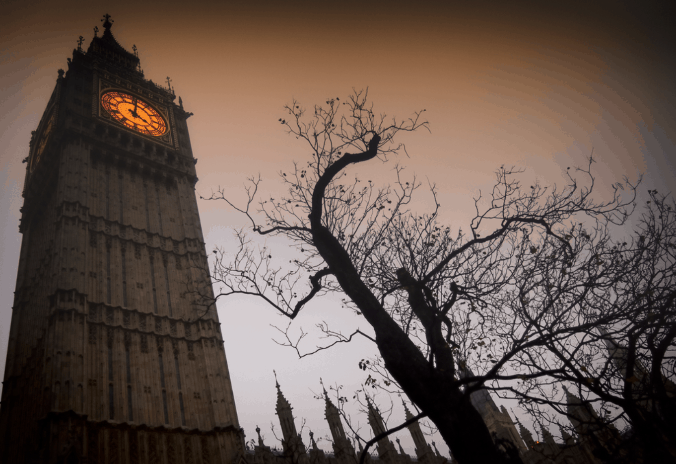 Big Ben shot from a low angle looking spooky