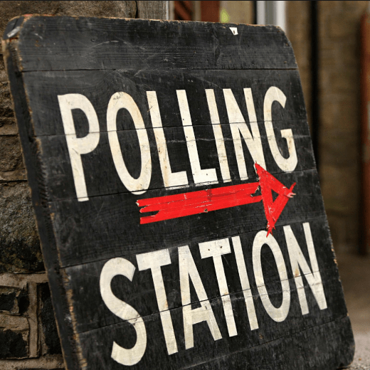Sign for a UK Polling Station