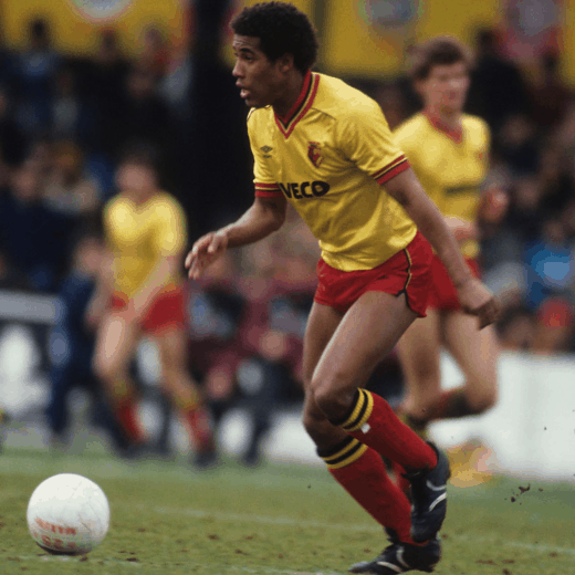 John Barnes playing for Watford in the 80s