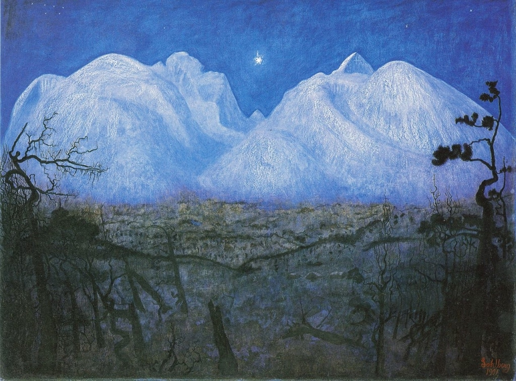 Winter Night in the Mountains painting by Harald Sohlberg