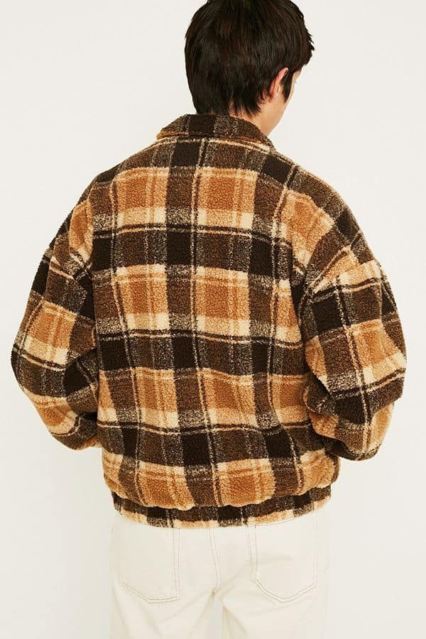 Urban Outfitters UO Borg Brown Check Track Jacket