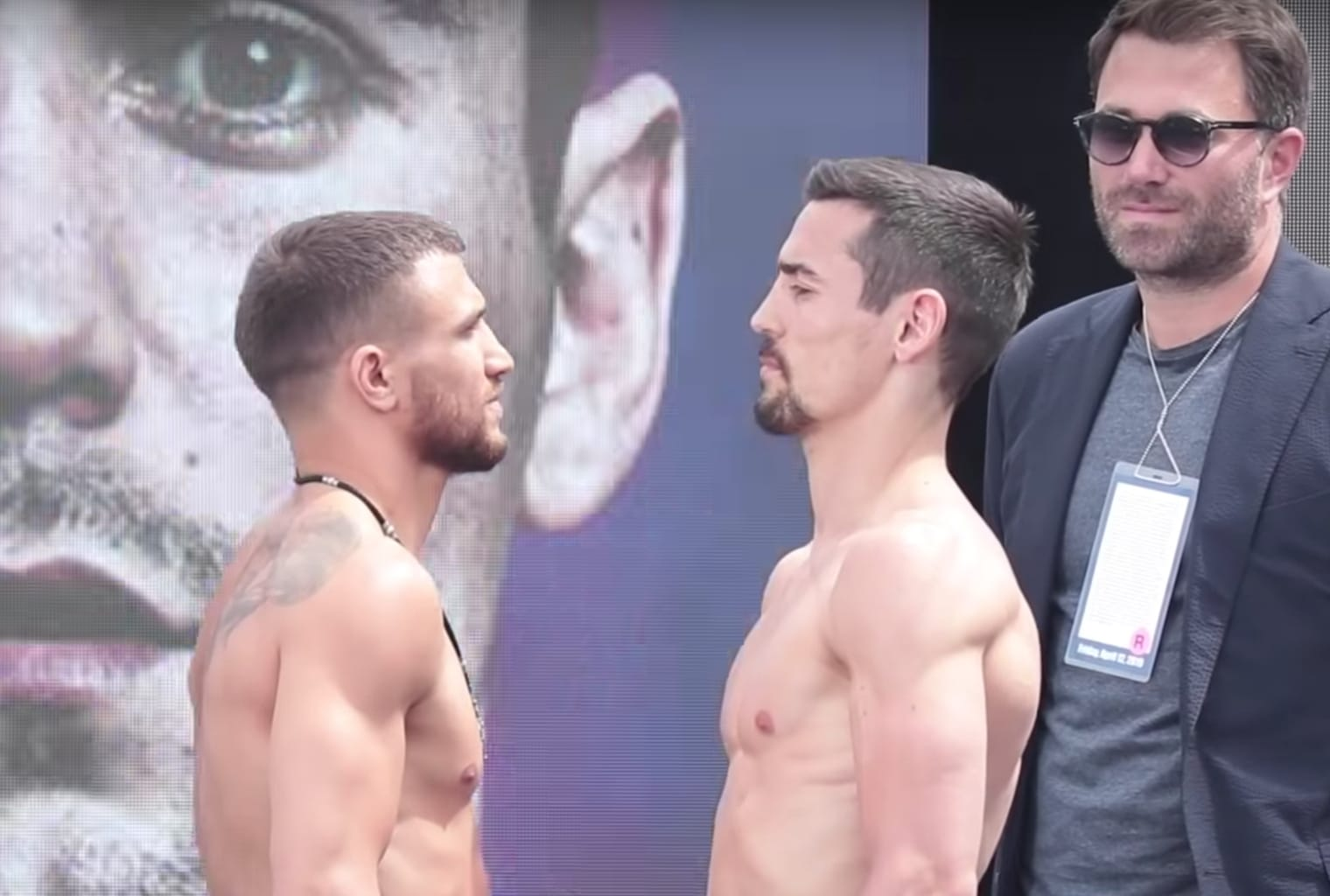 Vasyl Lomachenko faces off with Anthony Crolla at the weigh in for Lomachenko vs Crolla