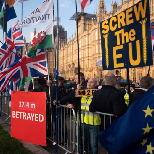 Protesters outside Westminster unhappy about the delay to Brexit