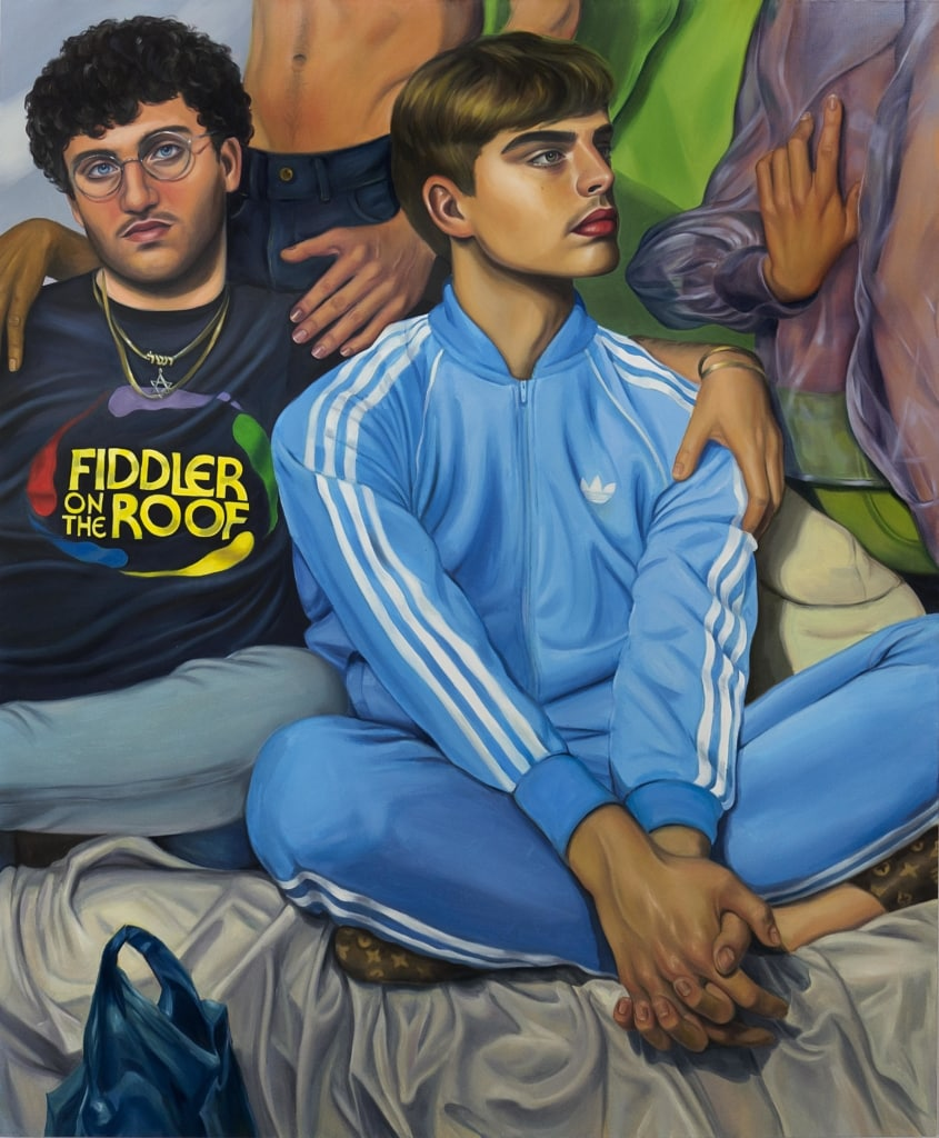 Chloe Wise picture 'Adam' - Tow teenage boys. One on left has a t-shirt with Fiddler on the roof written on it, the boy to right has a full blue Adidas tracksuit on.