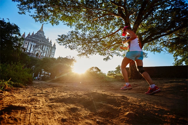 A runner taking part in the Bagan temple marathon