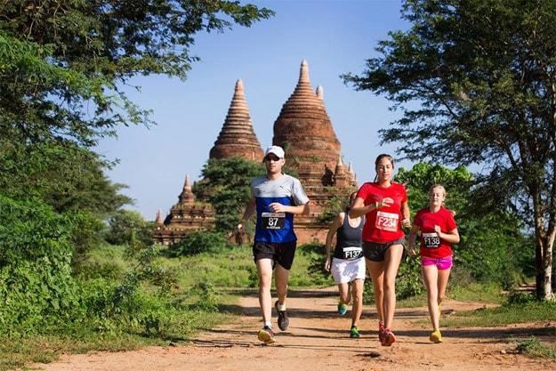 Runners in the Bagan marathon