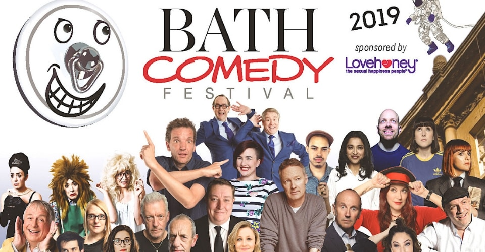 The Bath comedy festival poster featuring a host of comic stars